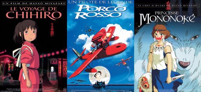 Affiches films Miyazaki - Le Voyage de Chihiro - Porco Rosso - Princesse Mononoké