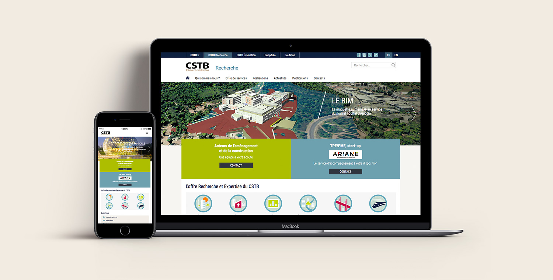 Site internet CSTB Recherche